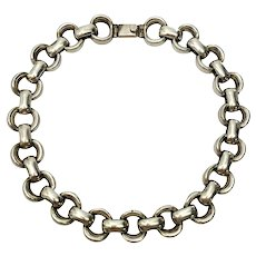 Vintage Sterling Silver Taxco Mexico TA-137 Heavy Link Chain Necklace