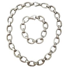 Sterling Silver and Diamond Oval Link Necklace and Bracelet Set