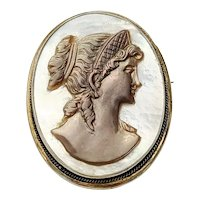 Vintage 835 Silver Mother of Pearl Cameo Pin/Pendant