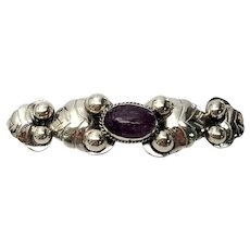 Vintage Mexico Sterling Silver Amethyst Cabochon Pin/Brooch