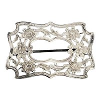 Antique Sterling Silver Etched Buckle Pin/Brooch