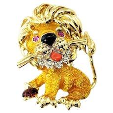 Vintage 18 Karat Yellow Gold Enamel and Diamond Lion Brooch/Pin