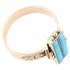Vintage 14 Karat Yellow Gold and Turquoise Ring Size 6.25