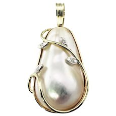 Vintage 14 Karat Yellow Gold Baroque Pearl and Diamond Pendant