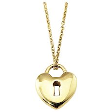 Vintage Tiffany & Co 18 Karat Yellow Gold Heart Lock Pendant Necklace