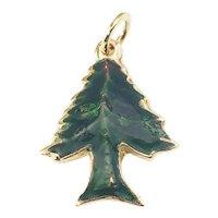 Vintage 14 Karat Yellow Gold and Enamel Christmas Tree Charm