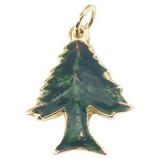 Vintage 14 Karat Yellow Gold and Enamel Christmas Tree Charm