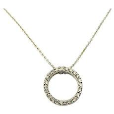 Vintage Roberto Coin 18 Karat White Gold and Diamond Circle Pendant Necklace