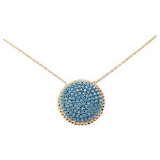 Vintage 14 Karat Rose Gold and Turquoise Pendant Necklace