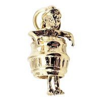 Vintage 14 Karat Yellow Gold Man in Barrel Charm