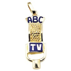 Vintage 14 Karat Yellow Gold ABC TV Studio Microphone Charm