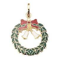 Vintage 14 Karat Yellow Gold and Enamel Holiday Wreath Charm