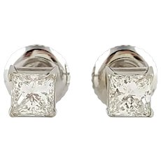 Vintage 14 Karat White Gold Princess Cut Diamond Stud Earrings
