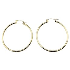 Vintage 14 Karat Yellow Gold Hoop Earrings