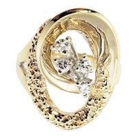 Vintage 14 Karat Yellow Gold and Diamond Ring Size 6.25