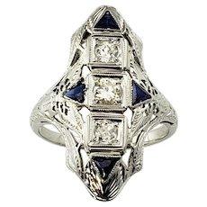 Vintage 18 Karat White Gold Filigree Diamond and Sapphire Ring Size 6