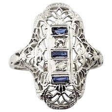 Vintage 18 Karat White Gold Filigree, Sapphire and Diamond Ring Size 4.5