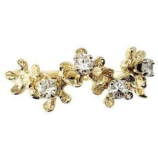 Vintage 14 Karat Yellow Gold and Diamond Floral Ring Size 6.5