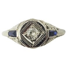Vintage 18 Karat White Gold Filigree Diamond and Sapphire Ring Size 5.5