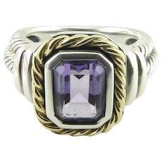 CNA Pranda Sterling Silver 14K Purple Stone Ring, Size 8