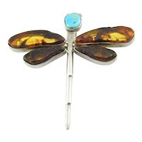 Sterling Silver Amber and Turquoise Dragonfly Pendant Pin