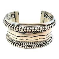 Native American TAHE Sterling Silver Stamped Wide Cuff Bracelet