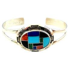 Carolyn Pollack Relios Sterling Silver MultiStone Inlay Cuff Bracelet