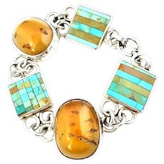 Handcrafted Artisan Signed Amber and Inlay Turquoise Link Bracelet