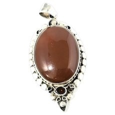 Large Sterling Silver Carnelian And Garnet Pendant