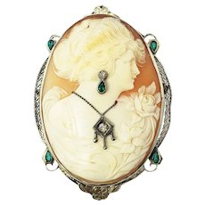 Vintage 14 Karat White Gold, Emerald and Diamond Cameo Brooch/Pendant