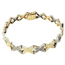 Vintage 14 Karat Yellow/White Gold and Diamond Kisses Bracelet