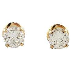 VIntage 14 Karat Yellow Gold Diamond Stud Earrings .90 ct. twt.