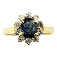 Vintage 18 Karat Yellow Gold Sapphire and Diamond Ring Size 4.5