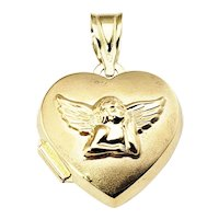 Vintage 14 Karat Yellow Gold Guardian Angel Heart Locket Pendant