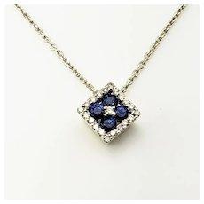Vintage 14 Karat White Gold Sapphire and Diamond Pendant Necklace