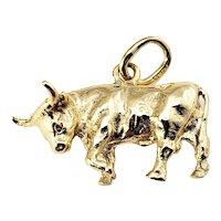 Vintage 14 Karat Yellow Gold Bull Charm
