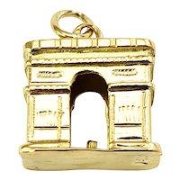 Vintage 14 Karat Yellow Gold Arc de Triomphe Charm