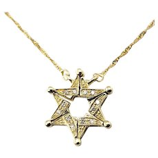Vintage Convertible Magnetic 14 Karat Yellow Gold and Diamond Star of David Pendant Necklace