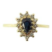Vintage 14 Karat Yellow Gold Sapphire and Diamond Ring Size 5.5