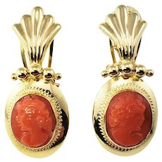 Vintage 18 Karat Yellow Gold and Coral Cameo Earrings