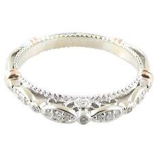 Verragio 14K White and Rose Gold Diamond Wedding Band Size 7
