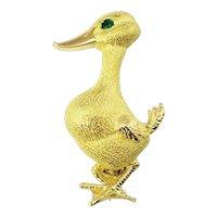 Vintage 18 Karat Yellow Gold and Emerald Duck Brooch/Pin