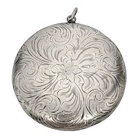 Antique Hand Etched Floral Sterling Silver Chatelaine Compact/Snuff Box