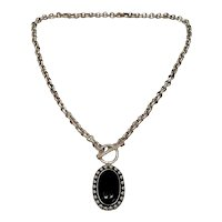Mexico HOB Sterling Silver Onyx Pendant Toggle Necklace