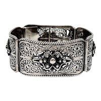 Vintage Sterling Silver Filigree Hinged Panel Link Bracelet