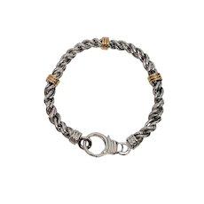 Dolan Bullock Men's Sterling Silver Rope 14K Yellow Gold Accent Bracelet
