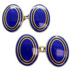 Vintage Deakin and Francis Paul Stuart Gold Over Sterling Silver Blue Enamel Cufflinks