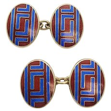 Vintage Deakin and Francis Paul Stuart Gold Over Sterling Silver Red and Blue Enamel Cufflinks