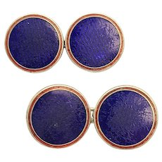 Vintage Deakin and Francis Paul Stuart Sterling Silver Red and Blue Enamel Round Cufflinks