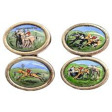 Vintage Sterling Silver Hand Painted Horse Racing Cufflinks